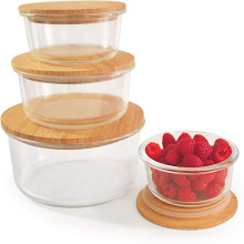 Customized Heat-resistant clear large Glass Fruit Bowl Stackable Salad Bowl with bamboo lid