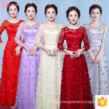 2017 Alibaba Hot Sale Formal Lace Short Sleeve Long Red Bridemaid Dresses