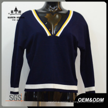Mesdames Style Preppy V-Neck Vêtements