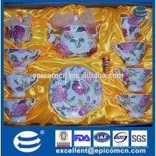 Tazas de té y platillos de decoración de oro de China de hueso, tazas de té chapadas en oro, artículos de té de té de flor rosa con tetera