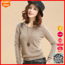 Latest design cashmere women pullover roll neck cashmere lady sweater