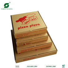 Caixa de pizza marrom tamanho vorious com impressão de marca d'água