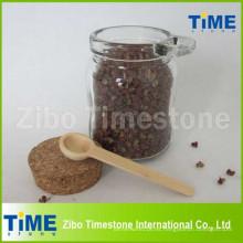 Tarro de cristal de la sal de la especia 250ml con el tapón de corcho