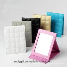 Logo gaufré en gros Folding Desktop Faux Leather Cadre photo et miroir