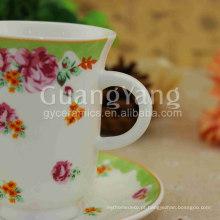 Cor diferente disponível novo osso China preto e branco xícaras de chá e pires com preço Exw