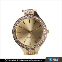 Goldfarbe diamante Uhr Diamant Quarz Frauen