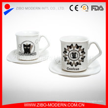 Wholesale Custom Logo Ceramic Espresso Coffee Mug Cup Porcelain Saucer
