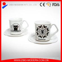 Atacado logotipo personalizado cerâmica espresso caneca de café xícara porcelana pires