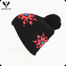 30%Wool 70%Acrylic Jacquard Lady Winter Cap with Half Fleece Lining