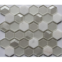 Hexagon Glass Mixed Marble Mosaic
