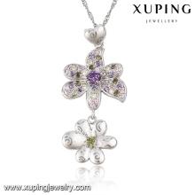 31722 Mode fleur de luxe strass CZ rhodium imitation bijoux chaîne pendentif