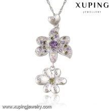 31722 Fashion Luxury Flower Rhinestone CZ Rhodium Imitation Jewelry Chain Pendant