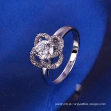 Anel de prata da flor da forma de Xuping com chapeamento do rhodium e CZ sintética