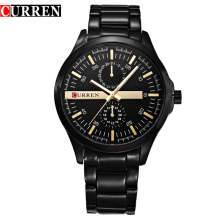 curren two eyes alloy watch business men wrist watch