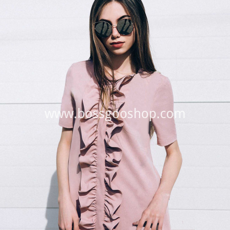 Pink Ruffles Dress 2018 Sweet O-Neck Short Sleeve Solid Above Knee Spring Summer Dresses