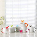 280cc porcelain tea cup with rubber coated handle and butterfly infuser