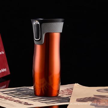 Copo de café de garrafa térmica a vácuo com tampa de tampa rápida