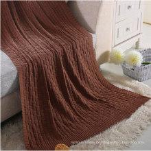 Hochwertige Fancy-Weave Cotton Knit Decke (DPFB8016)