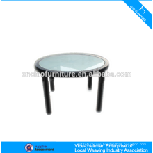 Outdoor rattan glass top dining table furniture