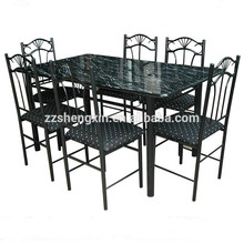 Modern Metal Tube 1 Dining Table 6 Chairs Set