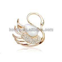 Lovely swan diamante broche para meninas