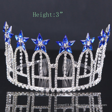 Royalblue Flower Crown Rhinestone Tiara Crystal Crowns For Party