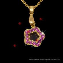Moda flor cristal encantos colgantes collar regalos de la joyería (FPN50824)