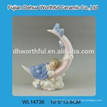 Decoración de hogar de cerámica en forma de bebé decoración de porcelana blanca