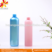 Glossy color round plastic bottle