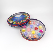 16 Macaron Cookie Chocolate Round Food Cardboard Gift Box Paper Packaging with plastic insert tray
