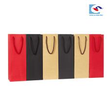 custom logo craft paper bags for wine bottle packaging