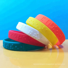 Free Sample Fitness Embossed Braille Silicone Wristbands Custom Logo Embossed Color Printing Silicon Bracelets