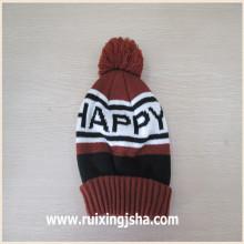sombrero tejido con el pompón logotipo personalizado del telar jacquar