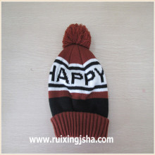 custom jacquard logo pompom knitted hat