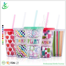 16oz Double Wall PS Muticolor Straw Cup with Lid (TB-A1-2)