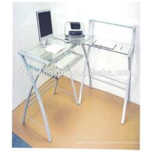 Mesa de computador de vidro temperado com tubo de aço