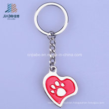 Free Sample Zinc Alloy Silver 3.5*3.1cm Red Enamel Metal Keychain for Promotion