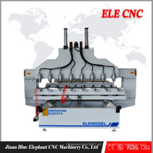 CNC roteador de gravura 8 cabeças com painel e função rotativa