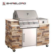 K959 Stainless Steel European Combined Outdoor Gas Churrasco Churrasco Grill Tables Designs