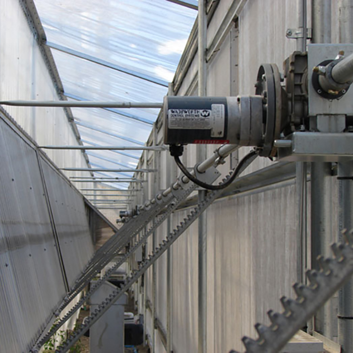 Greenhouse Continuous Rack and Pinion Vent System