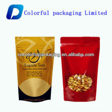 Dried fruit and nut packaging bags with front clear window /stand up bag with zipper nut bag
