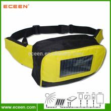 Bolsa solar portátil da cintura, bolsa de bolso solar com bateria 2200mah