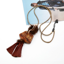 Long stylish jewelry with tassel and wool for women fashion necklace pendant