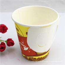 Tasse jetable de papier de mur unique de 7oz avec la poignée bon marché en gros