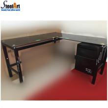 Угловой стеклянный компьютерный стол dektop для использования двумя компьютерами