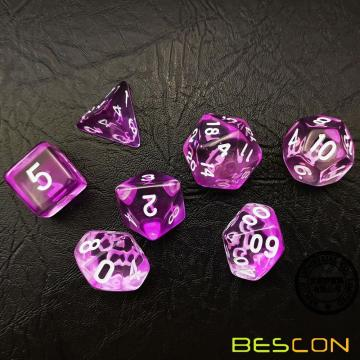 Bescon Crystal Purple - Ensemble de dés poly, 7 pièces, Ensemble de dés Bescon Polyhedral RPG - Crystal Purple