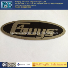 Aço inoxidável de jiangsu que carimba a placa de identificação, emblema polido de mirro com etiqueta traseira, usinagem da foto do etch do OEM