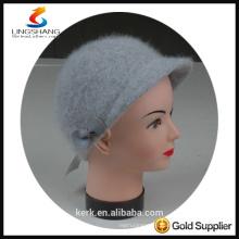 DSC9593 lingshang angora high quality Custom Crocheting Knitted lady peaked cap