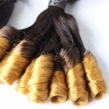 Spring curl two tone ombre black to lightest brown Brazilian human hair extension