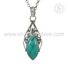New Arrival Tronco 925 Sterling Silver Turquesa Pendant Atacadista Silver Jewelry India